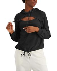 INC International Concepts Cotton Front-cutout Hoodie, Created For Macy's - Black