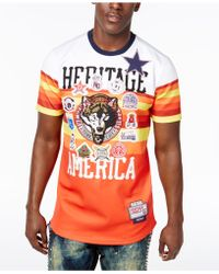 Heritage America Men's Striped Patch T-shirt - Orange