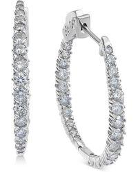 Macy's - Diamond In & Out Oval Hoop Earrings (2 Ct. T.w.) In 14k White Gold - Lyst