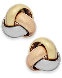 Macy's - Tri-tone Love Knot Stud Earrings In 14k Gold - Lyst