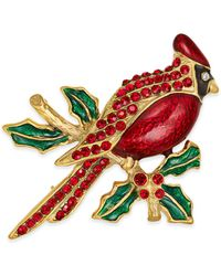 Charter Club Holiday Lane Gold-tone Pavé Cardinal Pin, Created For Macy's - Metallic