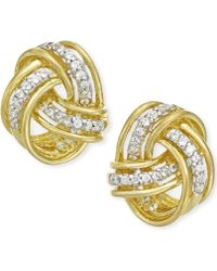 Macy's - Diamond Love Knot Stud Earrings In 10k Gold (1/5 Ct. T.w.) - Lyst