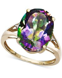 Macy's Amethyst (5 Ct. T.w.) And Diamond Accent Oval Ring In 14k Gold (also Available In Mystic Topaz, Blue Topaz, & Prasolite) - Metallic