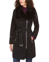 INC International Concepts Inc Faux-fur-collar Belted Faux-leather-trim Coat, Created For Macy's - Black