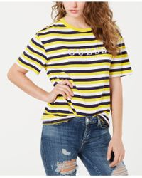 Guess - Cotton Striped Logo T-shirt - Lyst
