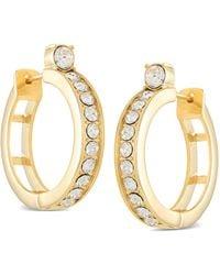 "Guess Gold-tone Small Crystal Hoop Earrings, 1"" - Metallic"