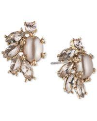 Marchesa - Crystal & Imitation Pearl Stud Earrings - Lyst