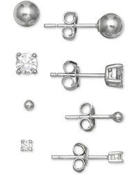 Giani Bernini - 4-pc. Set Cubic Zirconia & Ball Stud Earrings In Sterling Silver, Created For Macy's - Lyst