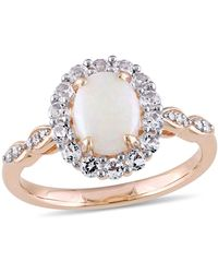 Macy's Opal (7/8 Ct. T.w.), White Topaz (5/8 Ct. T.w.) And Diamond Accent Vintage Halo Ring In 14k Rose Gold - Multicolour