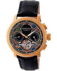Heritor Automatic Aura Rose Gold & Black Leather Watches 44mm