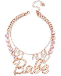 "Betsey Johnson | Rose Gold-tone Crystal ""not Your Babe"" Convertible Statement Necklace 