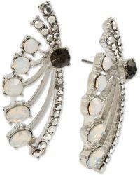 Betsey Johnson Silver-tone Pavé & Stone Spray Drop Earrings - Metallic