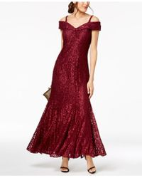 R & M Richards Off-the-shoulder Petite Lace Gown - Red