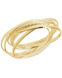 Hint Of Gold - Textured Bangle Bracelet Set In 14k Gold-plated Brass - Lyst