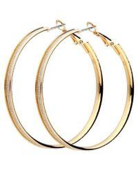 Nicole Miller Metal Chain Hoop Earring - Metallic
