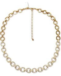 """INC International Concepts Inc Gold-tone Crystal Chain Link Collar Necklace, 17-1/4"""" + 3"""" Extender, Created For Macy's - Metallic"""