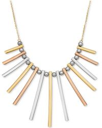 Macy's - Tri-color Bar And Bead Statement Necklace In 14k Gold, White Gold & Rose Gold - Lyst