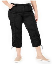Style & Co. Plus Size Cotton Bungee Cargo Capri Pants, Created For Macy's - Black