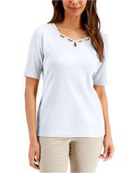 Karen Scott Cotton Elbow-sleeve Top, Created For Macy's - White