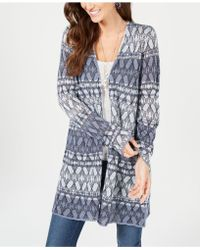 Style & Co. Printed Long Cardigan Jumper, Created For Macy's