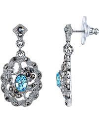 2028 - Silver-tone Aqua Blue And Hematite Color Filigree Drop Earrings - Lyst