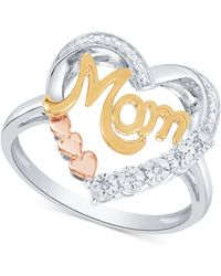 Macy's - Diamond Mom Heart Ring (1/10 Ct. T.w.) In Sterling Silver & Gold- And Rose Gold-plate - Lyst