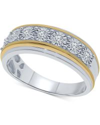 Macy's   Men's Diamond Two-tone Band (1/4 Ct. T.w.) In Sterling Silver & 14k Gold-plated Sterling Silver   Lyst
