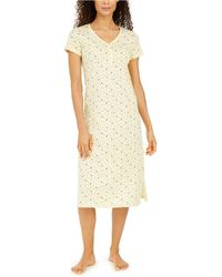 Charter Club Cotton Printed Jersey Nightgown, Created For Macy's - Yellow