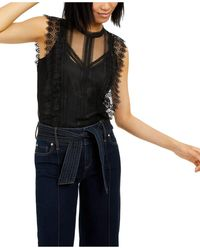 INC International Concepts Inc Lace Top, Created For Macy's - Black