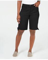 Karen Scott Solid Tie-cuff Shorts, Created For Macy's - Black