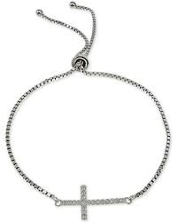 Giani Bernini - Cubic Zirconia East West Cross Slider Bracelet In Sterling Silver, Created For Macy's - Lyst