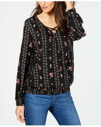Style & Co. - Printed-stripe Smocked Surplice Top, Created For Macy's - Lyst