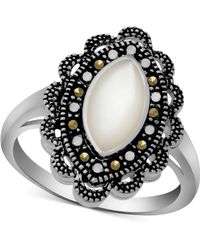 Macy's Marcasite & Mother-of-pearl Antique-look Ring In Fine Silver-plate - Metallic