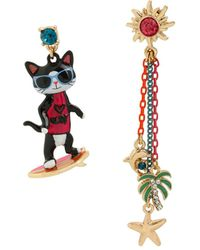 Betsey Johnson Surfing Cat Mismatch Earrings - Multicolor