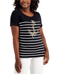 Karen Scott Petite Printed Rhinestone-embellished T-shirt, Created For Macy's - Black