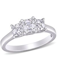 Macy's Asscher-cut Certified Diamond (1 1/2 Ct. T.w.) 3- Stone Engagement Ring In 14k White Gold - Metallic