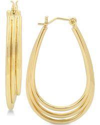 Hint Of Gold | Three-row Teardrop Hoop Earrings In 14k Gold-plated Metal | Lyst