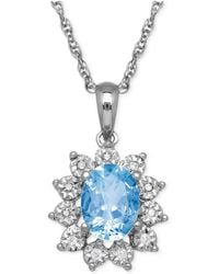 Macy's - Blue Topaz (1-3/8 Ct. T.w.) And Diamond Accent Pendant Necklace In 14k White Gold - Lyst