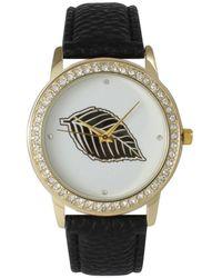 Olivia Pratt Rhinestone Bezel And Leaf Leather Strap Watch - Black