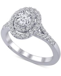 Macy's Diamond Oval Halo Ring (1 Ct. T.w.) In 18k White Gold - Metallic