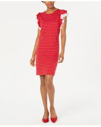 Maison Jules Striped Ruffle-sleeve Dress, Created For Macy's - Red