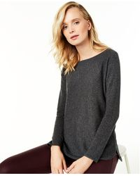 Charter Club Pure Cashmere Long-sleeve Shirttail Jumper, Regular & Petite Sizes, Created For Macy's - Gray