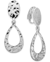 Charter Club - Silver-tone Hammered Teardrop Clip-on Earrings, Created For Macy's - Lyst