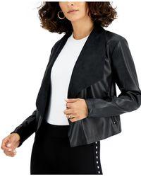Bar Iii Faux-leather Flyaway Jacket, Created For Macy's - Black