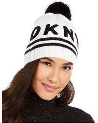 DKNY Varsity Letter Beanie With Pom - White