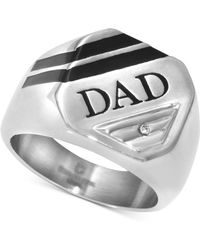"""Macy's Men's Diamond Accent """"dad"""" Ring In Stainless Steel And Black Ion-plate - Metallic"""