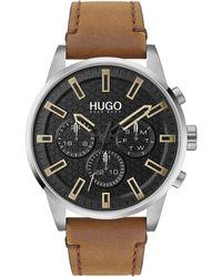 HUGO #seek Stainless Steel Quartz Watch With Leather Calfskin Strap - Brown