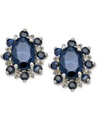 Macy's Sapphire (1-7/8 Ct. T.w.) & Diamond Accent Stud Earrings In 14k White Gold - Blue