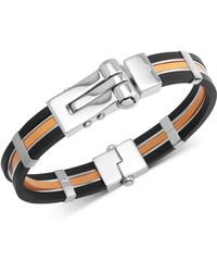 Macy's - Orange & Black Vulcanized Rubber Bracelet In Stainless Steel - Lyst