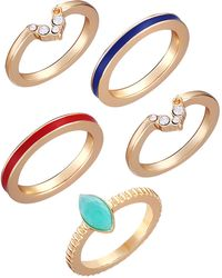 Guess Gold-tone 5-pc. Set Crystal & Stone Stack Rings - Multicolor